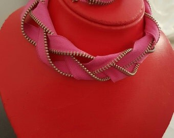 Pink color zipper Necklace Bracelet siraden zipper