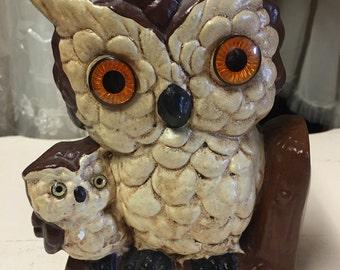 Owl chalk art Big owl with a baby owl oversized eyes