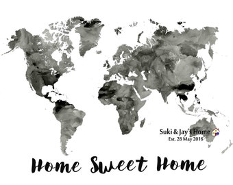 Personalised Housewarming gift Home Sweet Home Personalized World Map Housewarming gift world map gift for family New Home gift-Printable