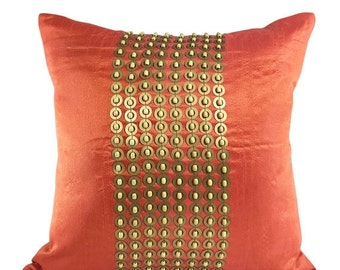 Orange Gold Decorative Pillow Cover With Gold Sequin and Wood Beads Orange Gold Beaded Throw Pillow 14X14 16X16 18X18 20X20