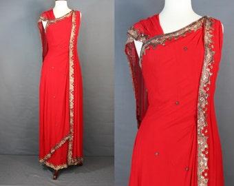60's Formal Gown......60's Red Silk Chiffon Sari Style Italian Designer Formal Sheath Gown