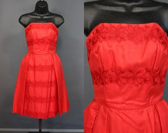 50's Red Taffeta Strapless Formal Dress