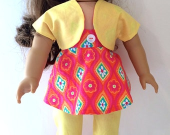 18 Inch Doll Clothes Handmade 3-Piece Capri Outfit with Yellow Pants And Coral And Flower Top and Shrug Fits American Girl Doll Clothes