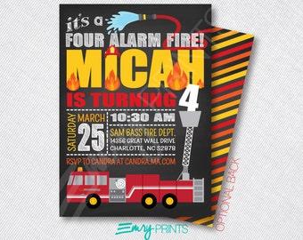 Four Alarm Fire Birthday Invitation Firefighter Birthday Invitation Fire Truck Invitation Fireman Invitation Fire Party Invitaiton