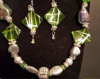 Lime Green Fantasy with Silver and Iridescent