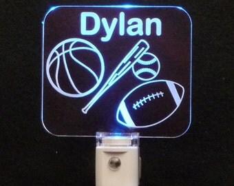 Personalized Sports LED Night Light, Baseball, Basketball, Football, Kids Lamp, Personalized gift