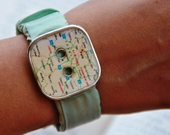 Textile fabric bracelet aqua green button velcro fastening