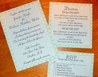 Printed Bordered 5-Piece Set Wedding Invitations