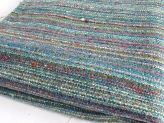 "unused remnant wool blend fabric, green woven fabric, multicoloured, 53"" x 61.5"""