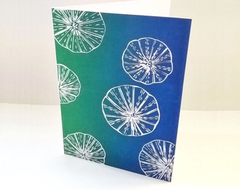 Linocut print, Sea urchins, Paper handmade greeting cards, Birthday card, Artist card, Thankyou card, Art cards, uk sellers, Green