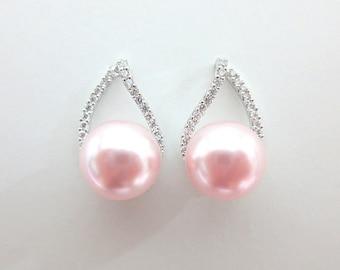 Blush Pink Earrings Teardrop Cubic Zirconia Earrings Light Pink Earrings Wedding Jewelry Swarovski Rosaline 10mm Pearl (E105)