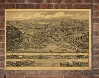 Higganum  Connecticut Vintage Print Poster Map 1881 Poster of CT Map Art Wall Decor