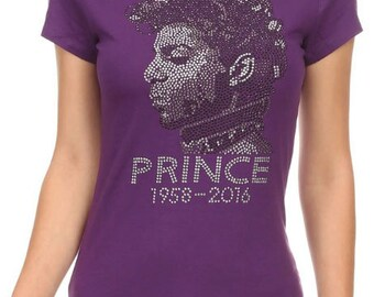 Prince Rhinestone Crew Neck Short Sleeve Shirt.