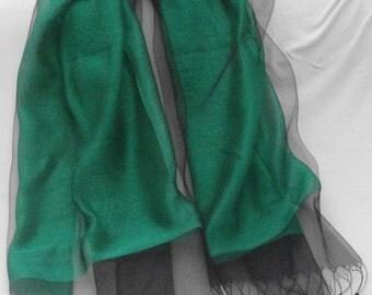 Emerald green 100% Silk organza & silk netting scarf