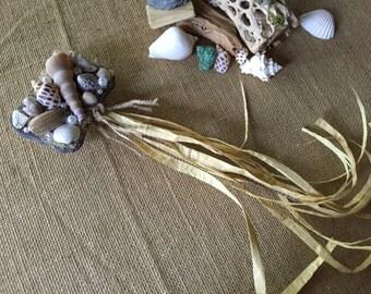 Flower girl wand/ sea shell wedding wand/