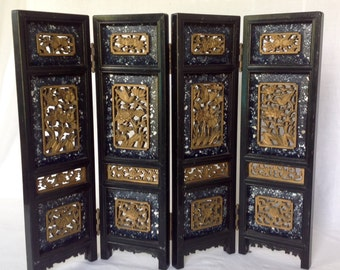 Miniature Carved Chinese Folding Screen
