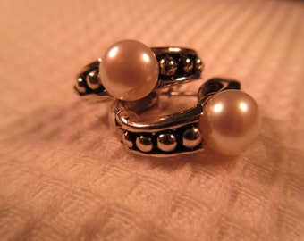 Cool Retro Sterling Silver Pearl Earrings
