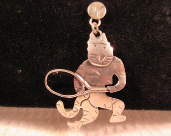 Whimsical Cool Tribal Sterling Silver Cats Playing Tennis Earrings - Mexico