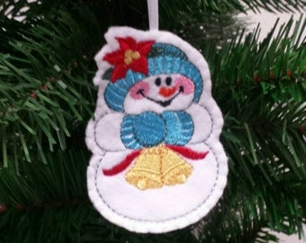 Embroidered Snowman ornament - Snowman christmas ornament - Embroidered felt ornament - christmas ornament -Christmas gift