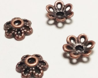 100pcs Antique Copper Bead Caps Bulk - Flower Bead Caps - End Caps - 6x2.5mm - Copper End Caps - Jewelry Supplies - B30661H
