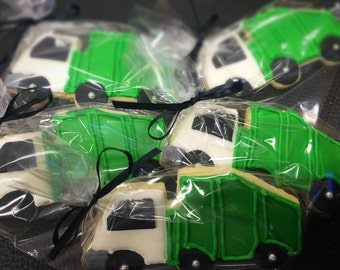 Garbage Truck Decorated Sugar Cookies