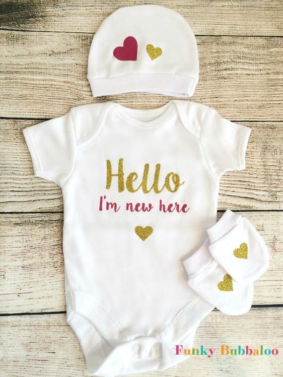 Go Hello World: Hello World Newborn Outfit Dark Pink Gold Glitter Bodysuit