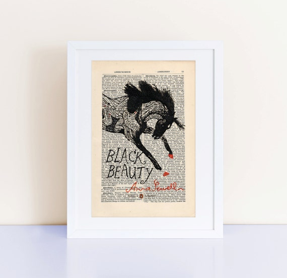 Black Beauty by Anna Sewell Print on an antique page, book cover art