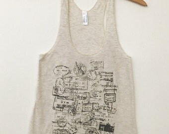 Passport Stamps Travel Women's American Apparel Tri-Blend Tank Top