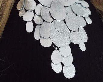 Silver Tribal Disc Statement Necklace -UK SHOP