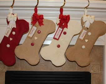 Dog Stockings - Personalized Dog Stocking - Embroidered Dog Christmas Stocking - Bone Shaped Stocking for Dogs