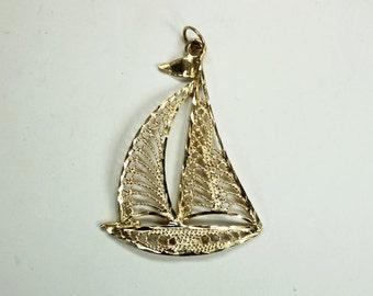 "Vintage 14K Yellow Gold Filigree Sailboat Pendant 1.5""h c1980s"