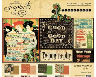 Graphic 45 Typography - Choose from 12 x 12 Paper Pad & 8 x 8 Paper Pad