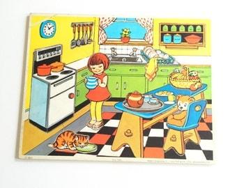 Vintage 1970s Tea time puzzle, G J Hayter & Co Ltd, jigsaw puzzle, wooden puzzle, 10 piece, wooden