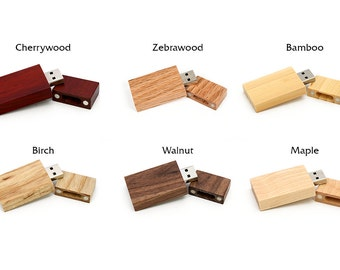 Single  8GB or 16GB USB 2.0 Flash Drive - Authentic Eco Friendly Wood - Select from a variety of finishes and woods!