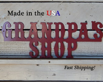 Grandpa's Shop, Tool Shop Metal Sign, Tool Sign, Outdoor/Indoor, Metal Art, Fathers Day Gift, Tool Shop, Gifts for Men, Man Cave Sign, W1115