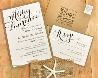 Beach theme wedding invitations Etsy
