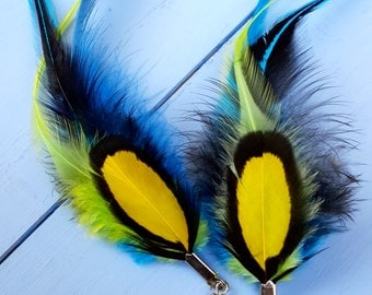 Flashy yellow and blue feathers earrings deep