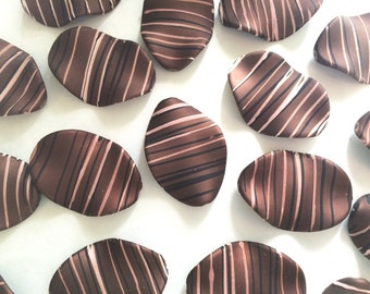 XL Chocolate Brown matte Chunky beads - acrylic brown painted beads for jewelry making - 45x30mm