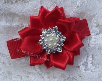 "Red Flower Hair Clip - YOU CHOOSE - Red Flower Baby Clip - Red Flower Hair Clip with Rhinestones - 1.5"" flower clip - Red Toddler Hair Clip"