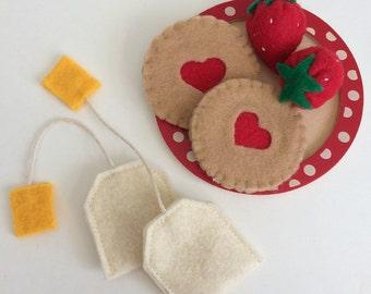 Pretend Play Felt Cookies, Pretend Tea Party Set, Orange Tea Bags - Ready to ship
