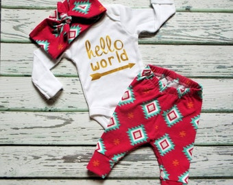 Hello World Newborn Set, Coming Home Outfit