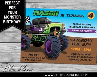 Monster Truck Birthday Invitations (PRINTED)