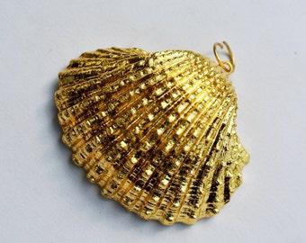 24Kt Gold Electroplated Shell Pendant, 40x42mm Gold Dipped Large Shell Pendant, Gold Layered Seashell Pendant, Jewelry Making