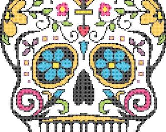 Sugar Skull -- Counted Cross Stitch Chart Pattern