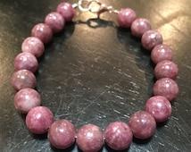Lepidolite Bracelet - Healing Crystal Bracelet - Lepidolite jewelry - 8mm Lepidolite beads - lilac lepidolite stone - lepidolite crystal