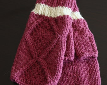 hand knit  wool mitts