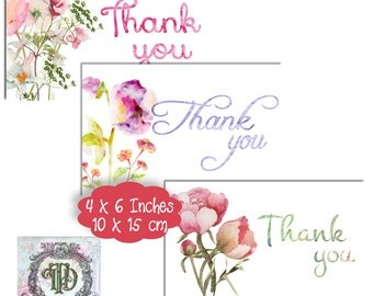 6 Watercolour Floral Thank You Tags/Cards