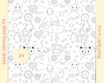 kawaii coloring page A4 - instant download - printable relaxing gift idea - commercial use allowed - black and white - anti-stress activity
