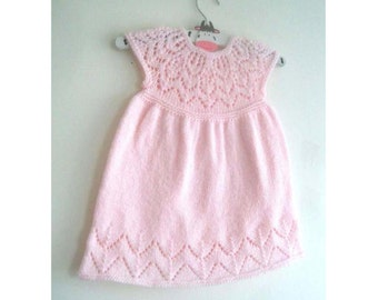 Grace Dress - Knitting Pattern - Baby girl to age 6  - Instant Download PDF