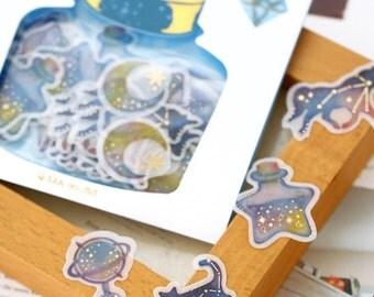 Kawaii Galaxy  Horoscope Flake Sticker Pack(48Pcs)